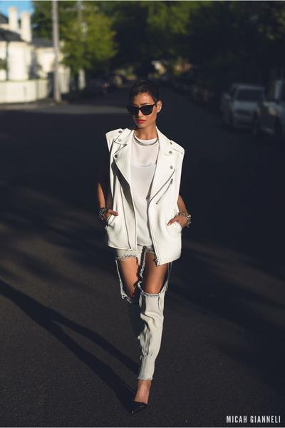 white biker vest SAXONY vest