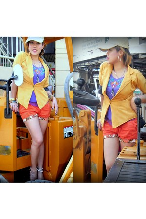 light yellow blazer - carrot orange shorts - violet top