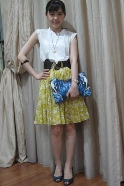 Zara top - Zara skirt - Topshop belt - Alexander McQueen purse - Zara shoes