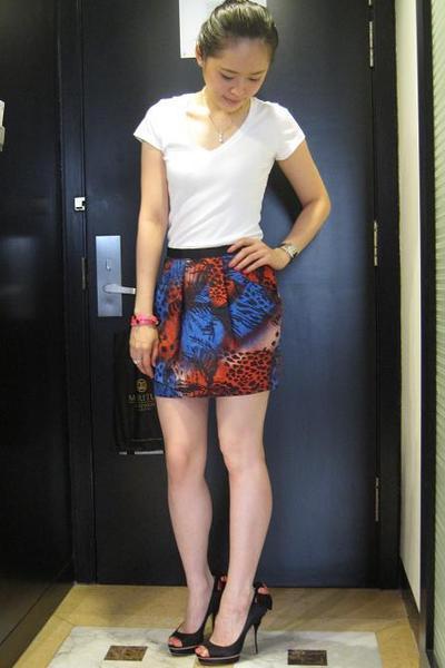 banana republic top - Topshop skirt - CC Skye accessories - Miu Miu shoes