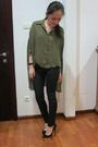 Green-nastygal-shirt-black-sass-and-bide-jeans-black-charlotte-olympia-shoes