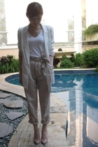 Zara blazer - banana republic t-shirt - Zara pants - Christian Louboutin shoes