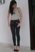 blue River Island jeans - red Celine shoes - white MNG top