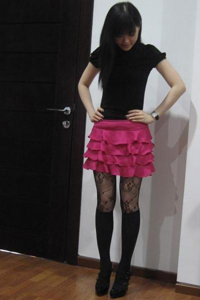 Topshop top - Topshop stockings - Christian Louboutin shoes - Topshop skirt