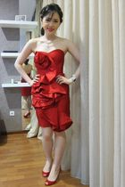 red custom made dress