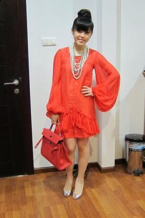 red Karen Walker dress - white Club Monaco necklace - silver Louboutin shoes