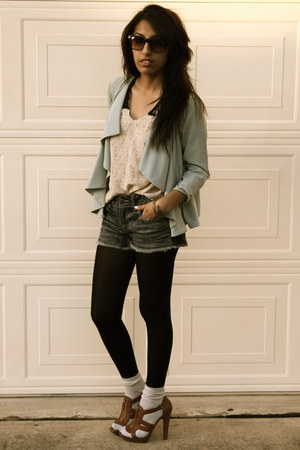 Forever 21 shorts - H&M cardigan - Urban Outfitters blouse - Jessica Simpson hee