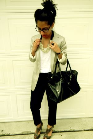 H&M blazer - Forever 21 top - Arden B pants - Aldo shoes - Forever 21 necklace -