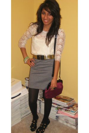 Forever 21 blouse - Forever 21 skirt - Wet Seal belt - Forever 21 tights - Baker