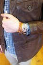 Silver-faceless-watch-margiela-h-m-bracelet-orange-silk-wrap-hermes-bracelet