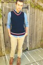 Cable-knit-tommy-hilfiger-vest-chambray-h-m-shirt-levis-pants