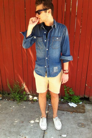 denim Lucky Brand shirt - striped Gap shirt - cut-off JCrew shorts