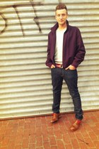 deep purple Prada jacket - brown Cole Haan shoes - Levis jeans