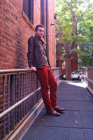 burnt orange H&amp;M pants - brown Colehaan shoes - brown leather Gap jacket