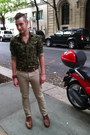 Brown-cole-haan-shoes-olive-green-camouflage-zara-shirt-brown-coach-bag