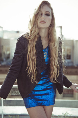 blue blue metallic michal  zoe dress - black faux fur suede michal  zoe jacket