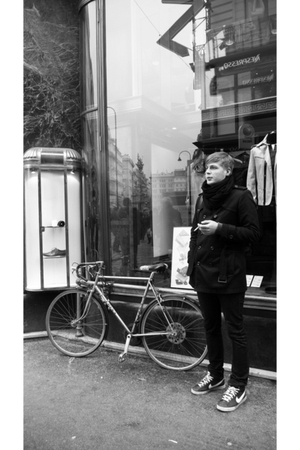 black nike shoes - Zara jeans - hm coat - Zara scarf - Bike