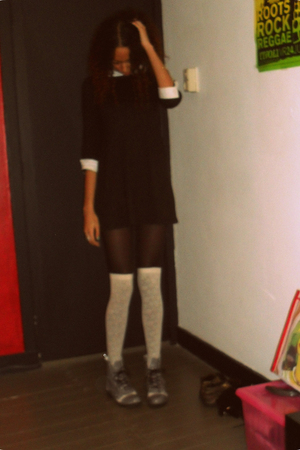 black vintage dress - black H&M tights - beige H&M stockings - gray DIY boots