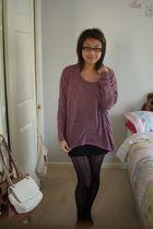 purple Topshop top - black H&M skirt - black tights - gold Accessorize accessori
