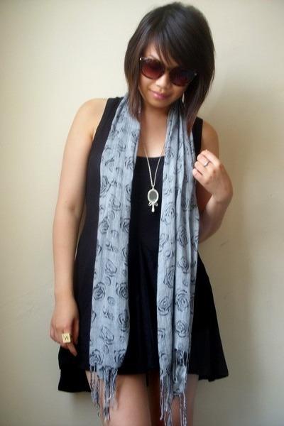 black Miss Selfridge dress - blue scarf