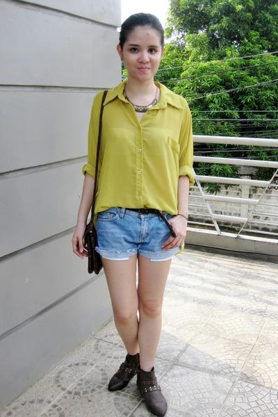 braided Forever 21 belt - Mango bag - cropped Topshop shorts