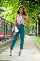 teal vintage Ralph Lauren pants - light pink corset Love Humbly Shop top