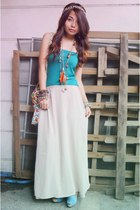 eggshell maxi H&M skirt - teal tube GH top - periwinkle muniz shoes wedges