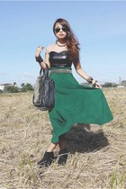 teal maxi skirt skirt - black studded bag Tomato bag