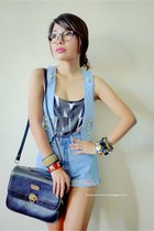 periwinkle moms shorts - black bag - denim vest crossings vest