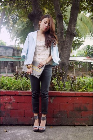 ivory lace top top - light blue corduroy Mossimo blazer