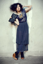 black kalika wedges - dark gray NIKICIO skirt - navy lace Zara top