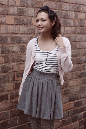 heather gray H&amp;M skirt - ivory Jay Jays top - light pink Primark cardigan