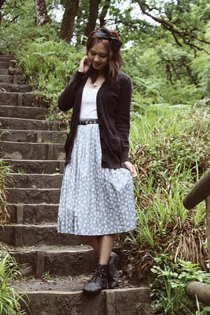 black lace-up pixie Ebay boots - black Attik cardigan - white tank Primark top -