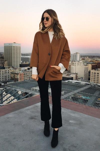 brown felt Rosetta Getty jacket - black leather vince boots