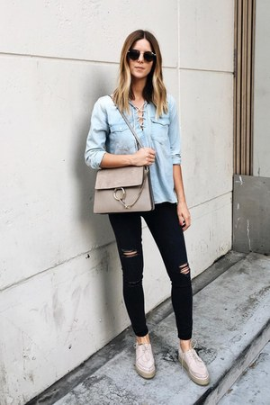 black Level 99 jeans - heather gray gray suede Chloe bag