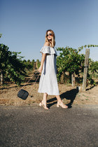 light blue Ganni dress - navy Vanessa Seward bag