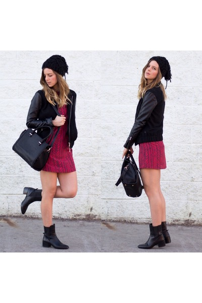 black leather Zara boots - maroon printed Delacy Clothing dress