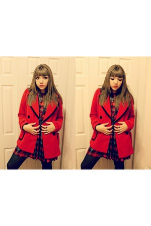 plaid Forever 21 dress - red Forever 21 jacket - HUE tights