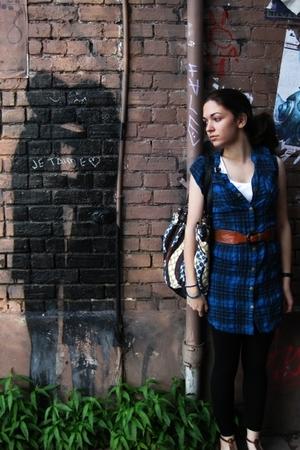 brown vintage woven belt - shoes - blue Silence & Noise dress - black leggings
