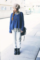 black All Saints boots - blue free people sweater - beige Urban Outfitters shirt