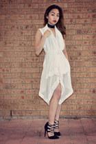 black bardot heels - white thrifted dress - black DIY necklace