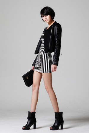 black bodycon storets dress - black leather pants storets jacket