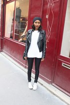 white Converse shoes - black Aldo hat - white Uniqlo sweatshirt