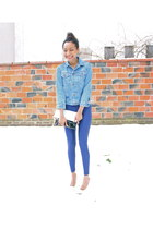 blue American Apparel leggings - white Mango heels