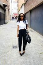 black American Apparel pants - black Zara sandals