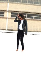 white Mango heels - black Zara jacket - white Hanes t-shirt