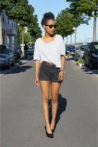 black Bongo shorts - silver Cheap Monday t-shirt - black Jeffrey Campbell heels