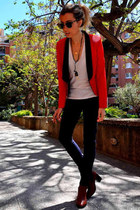 dark brown Topshop boots - navy Zara jeans - ruby red q2 blazer