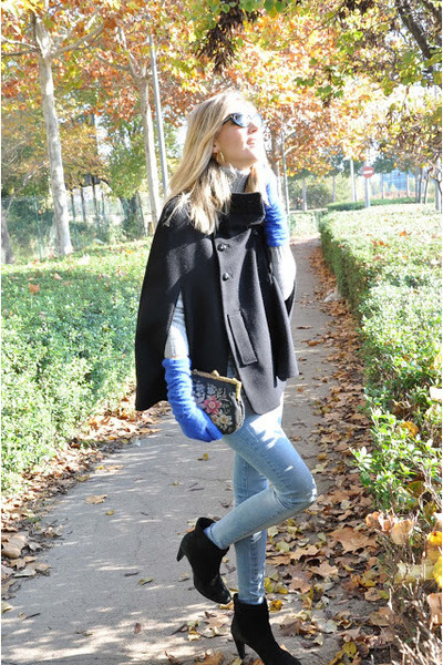 blue asos gloves - sky blue Topshop jeans - maroon vintage bag