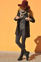 brick red Primark hat - black Zara boots - dark gray Mango coat